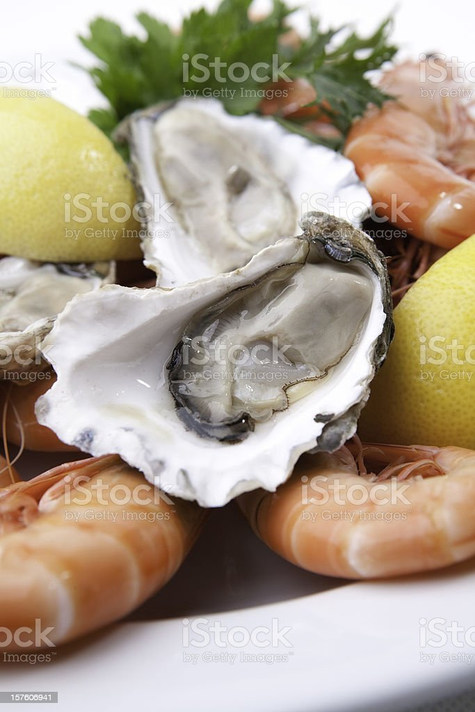 Seafood platter with oysters and prawns stock photo