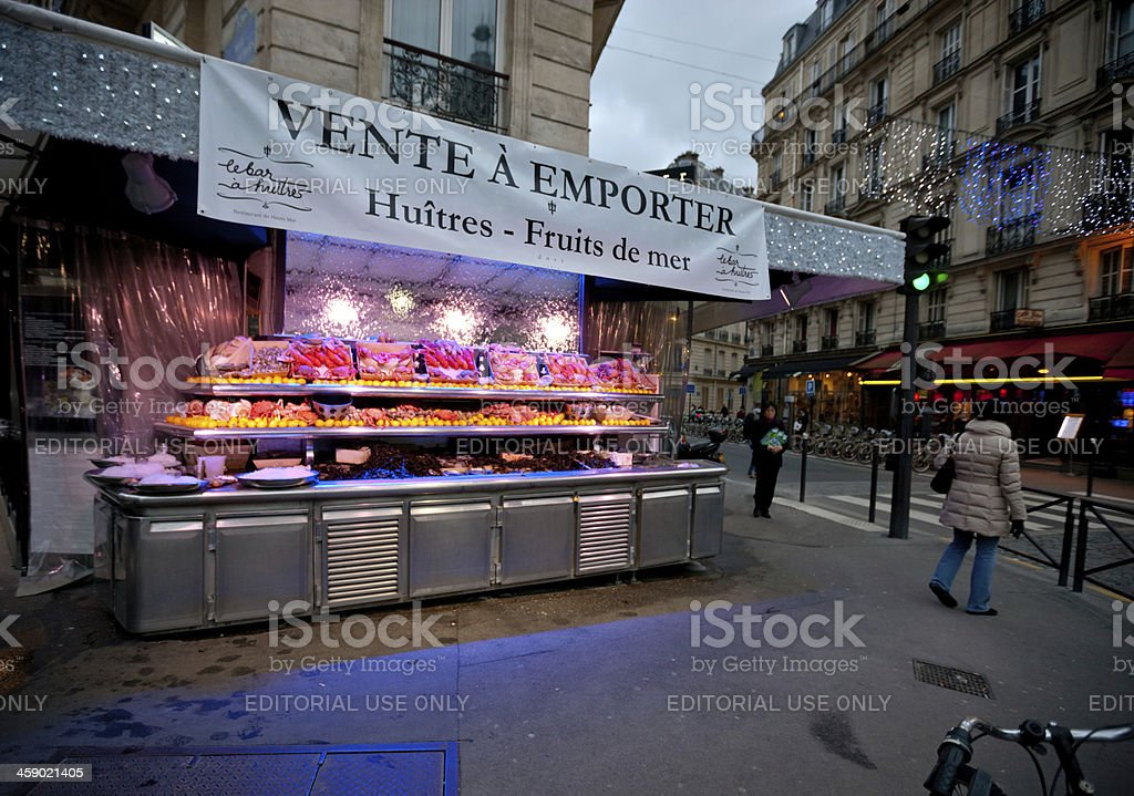 Seafood Restaurant and Oysters Bar in Pairs royalty-free stock photo