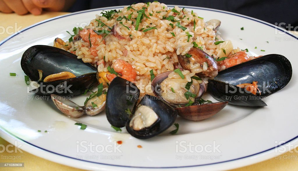 "Seafood Risotto ""alla Pescatora"" royalty-free stock photo"