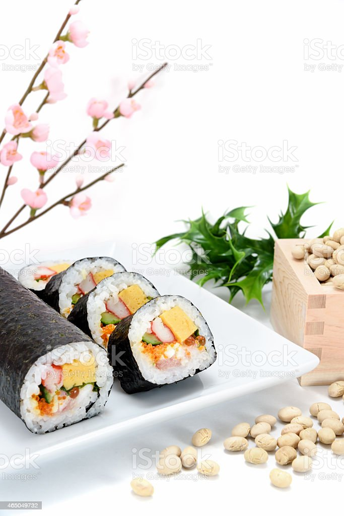Seafood Rolled sushi and soy stock photo