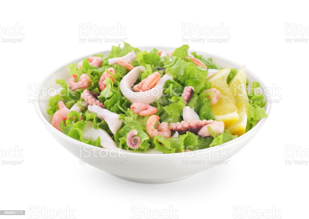 Seafood salad on white background. stock photo