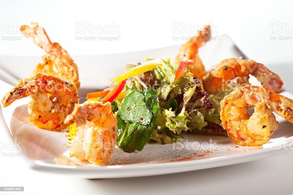 Seafood Salad over White stock photo