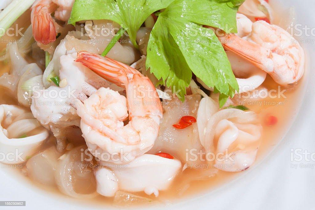 Seafood salad thai style stock photo