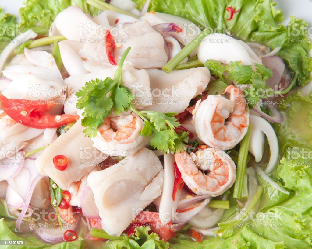 Seafood Salad with Thai food Style royalty-free stock photo
