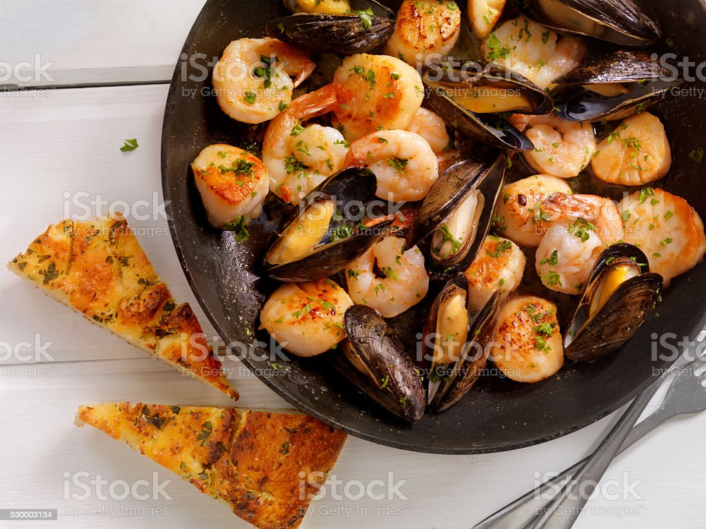 Seafood Scampi in a Butter and White Wine Sauce stock photo