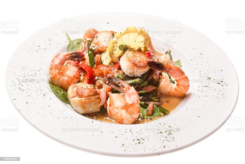 Seafood Scampi isolated on White stock photo