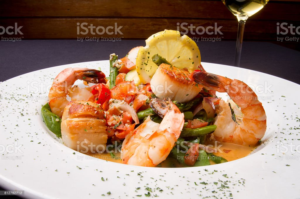 Seafood Scampi with Jumbo Shrimp and Scallops stock photo