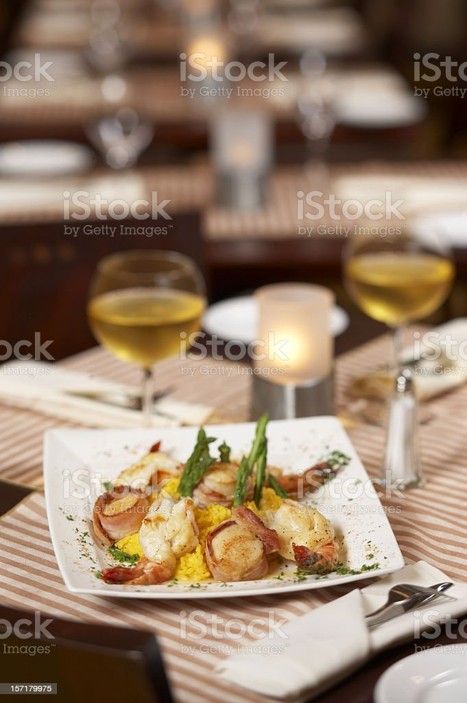 Seafood setting stock photo