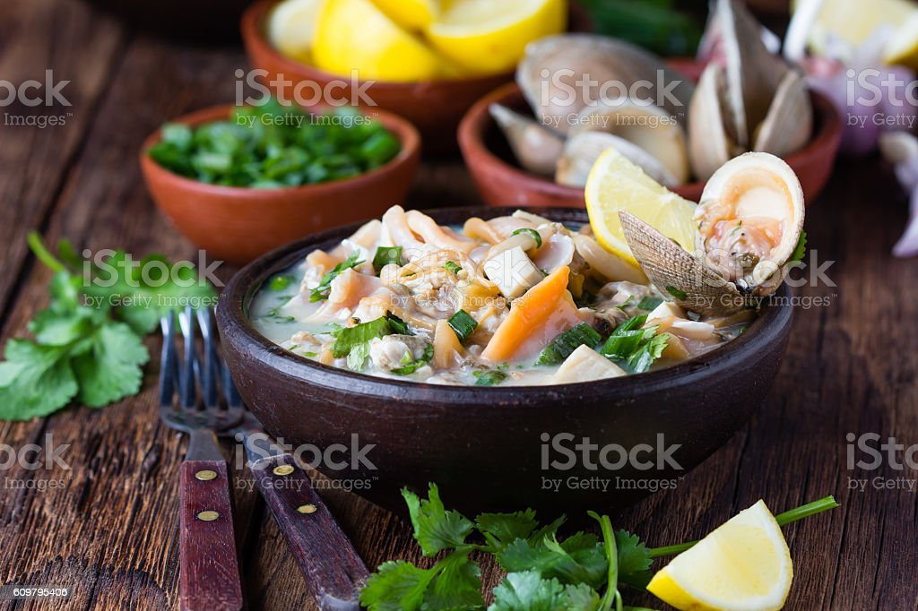 Seafood shellfish ceviche mariscal, typical dish Peru Latin America stock photo