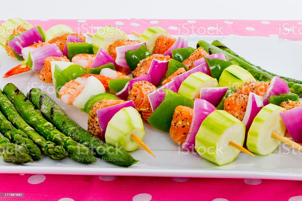Seafood Skewers are Ready to go on the barbecue. royalty-free stock photo