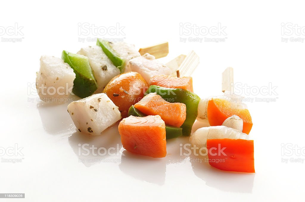 Seafood skewers royalty-free stock photo