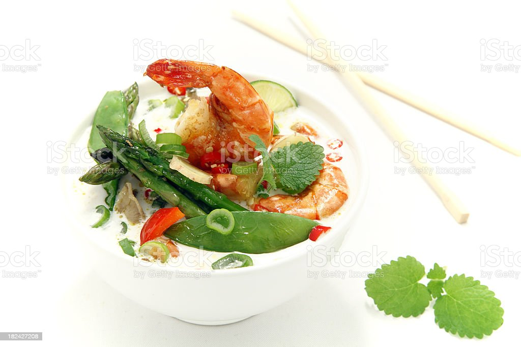 Seafood soup in asia style stock photo