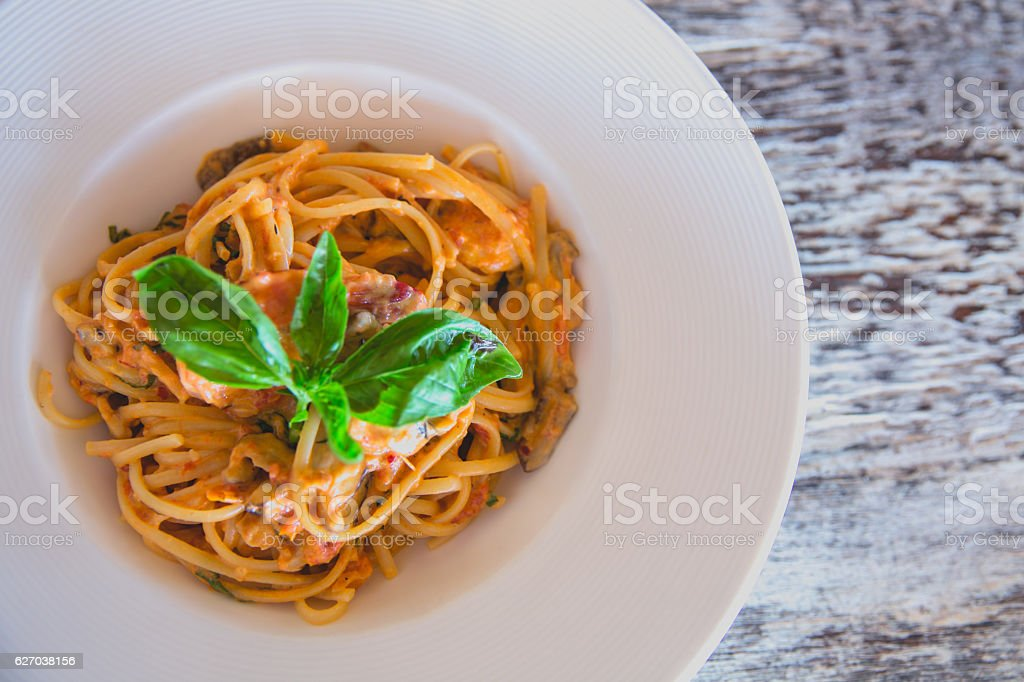 Seafood spaghetti for lunch stock photo