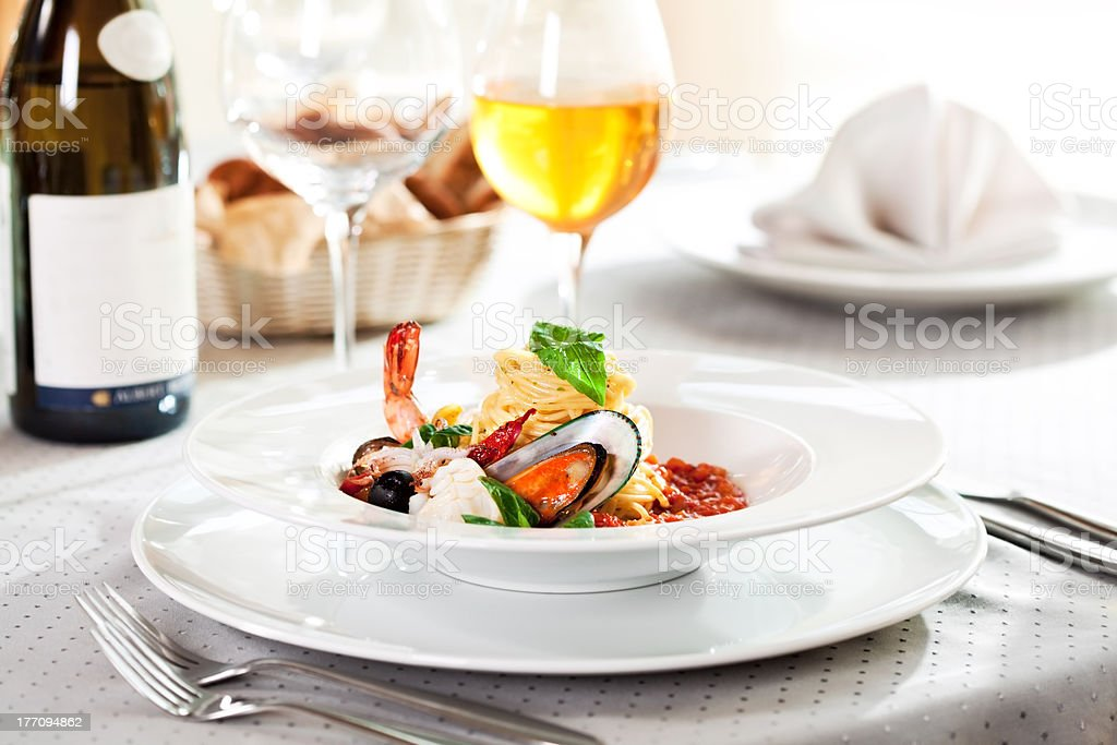 Seafood Spaghetti stock photo