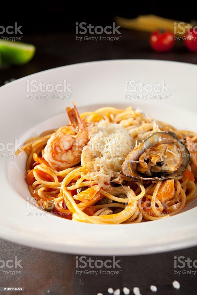 Seafood Spaghetti Plate stock photo