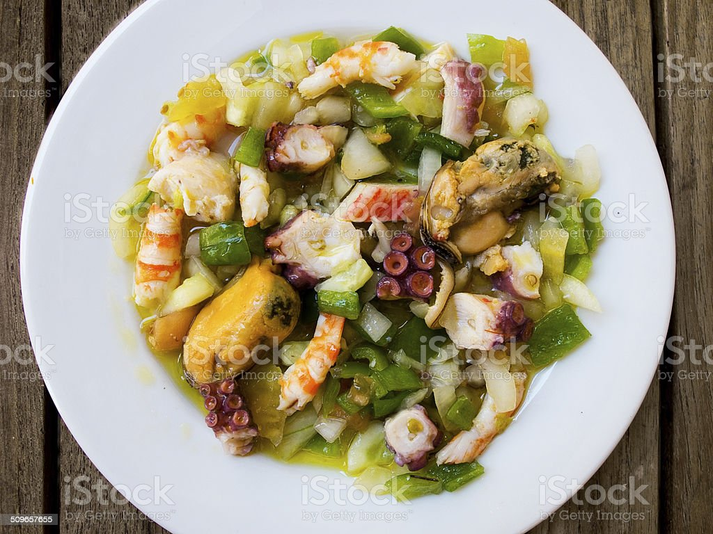 Salpicon de marisco / Shellfish salad. stock photo