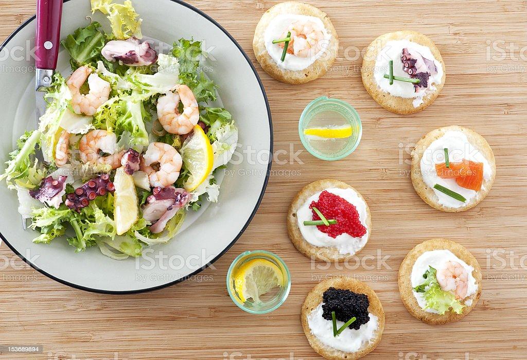 Seafood starter stock photo
