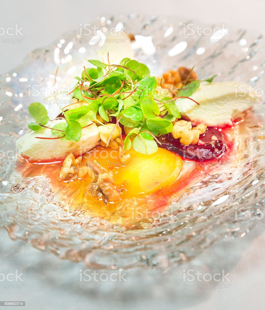 Seafood stater with Beetroot & Garnish stock photo