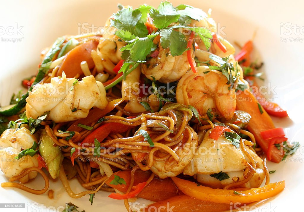 Seafood Stirfry royalty-free stock photo