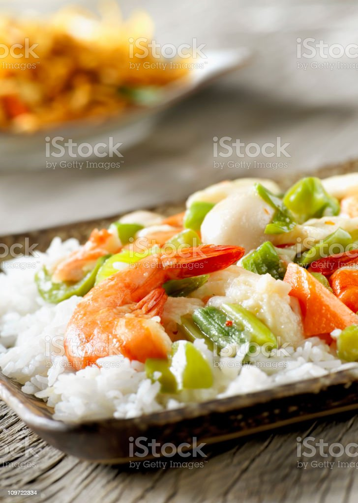 Seafood Stirfry with Vegetables royalty-free stock photo