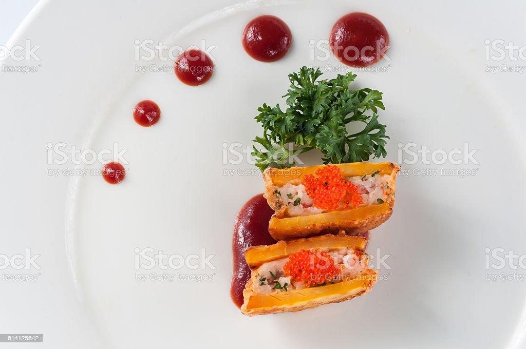 Seafood sweet potato stock photo
