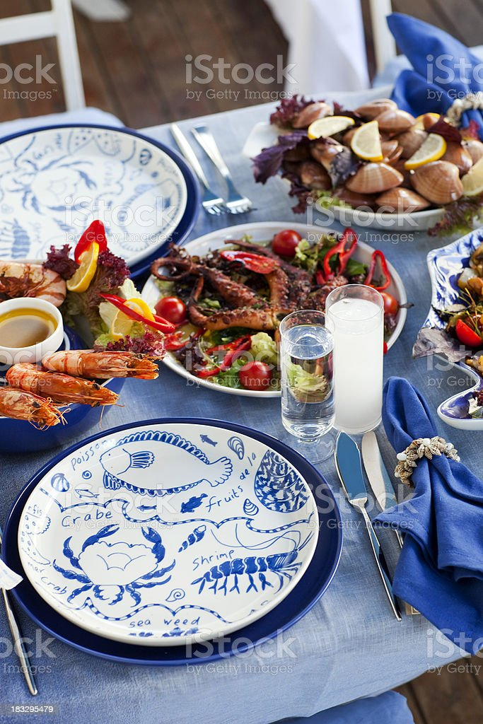 Seafood Table stock photo