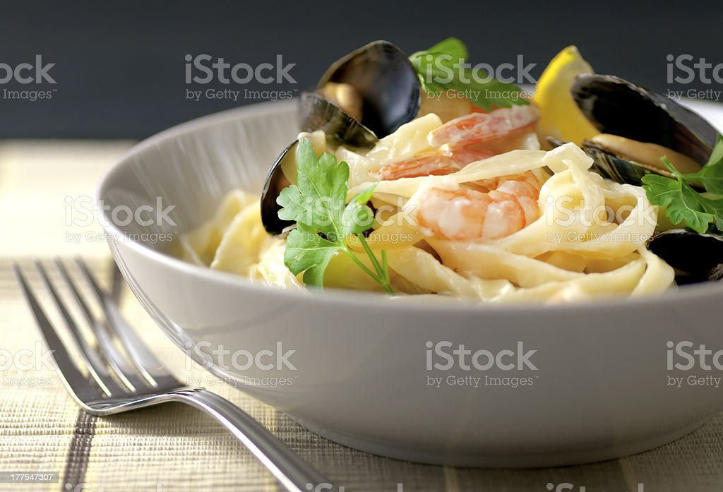 Seafood tagliatelle stock photo