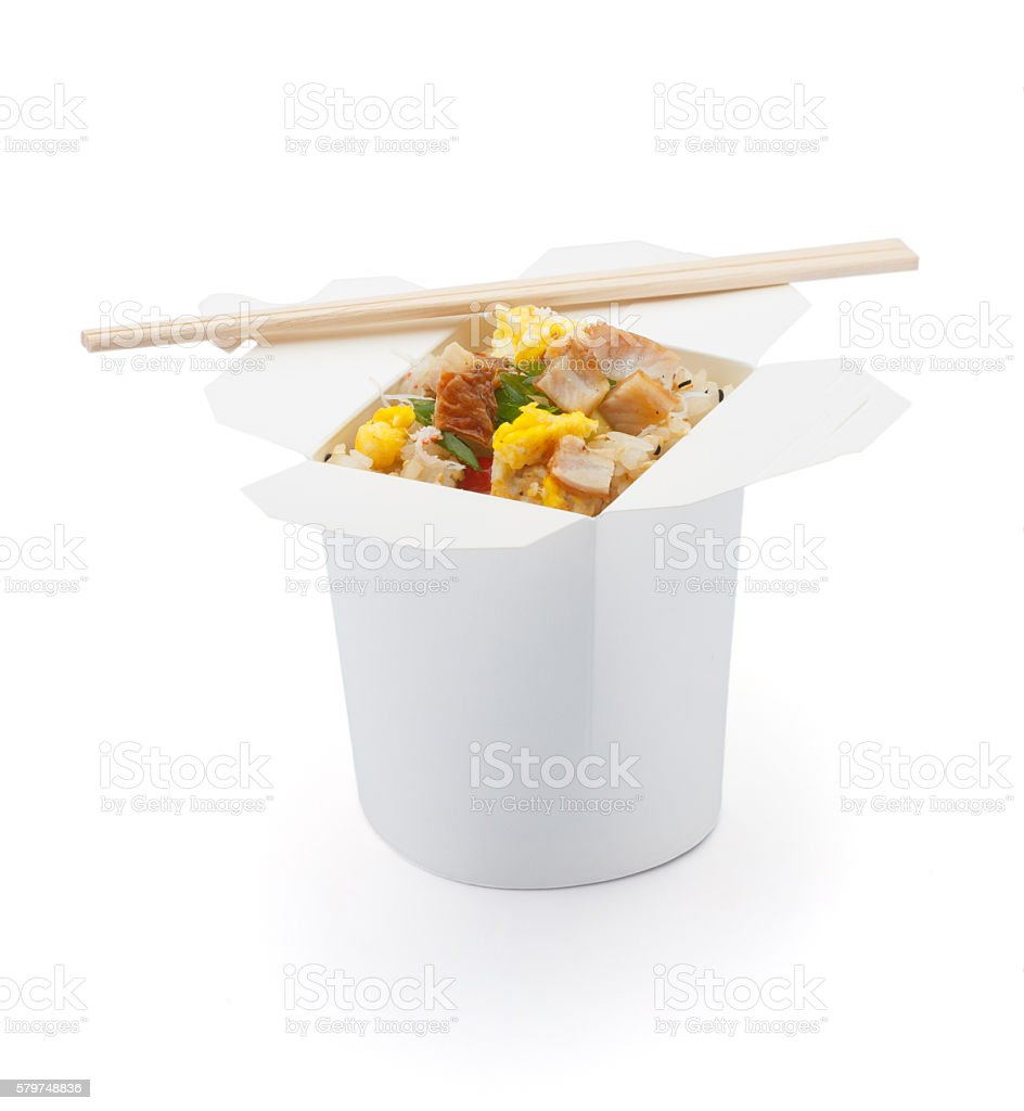 Seafood  teriyaki rice isolated on white background stock photo