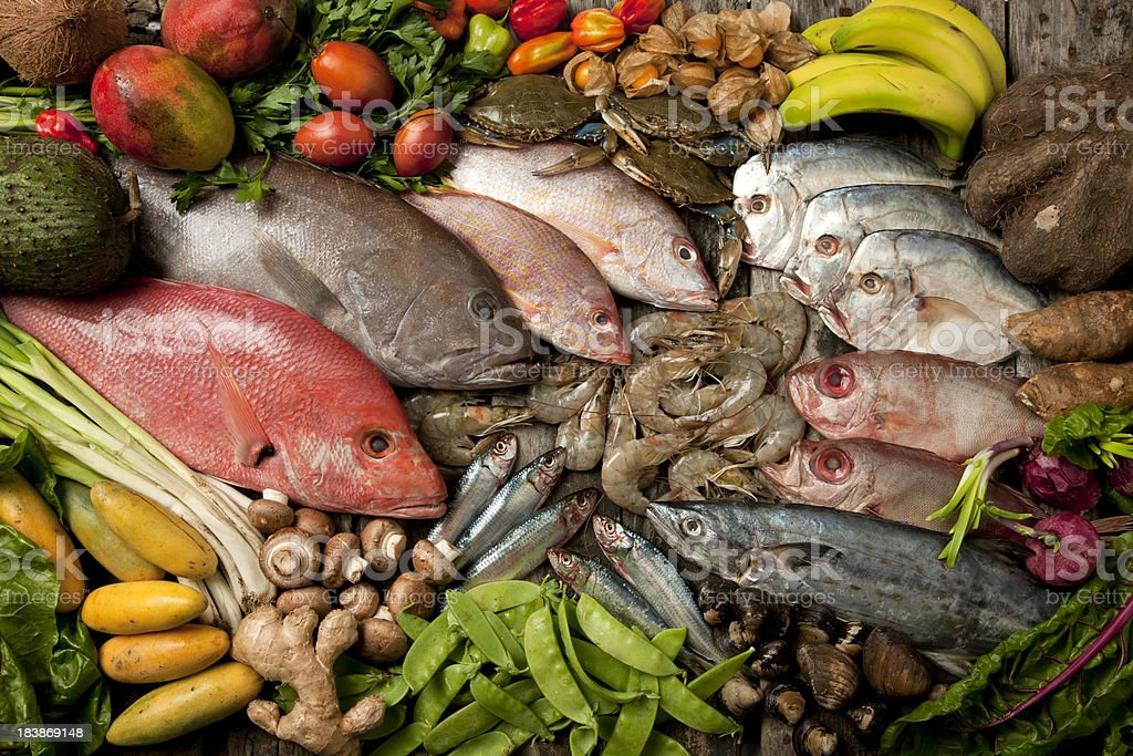 Seafood, vegetables and fruits composition royalty-free stock photo
