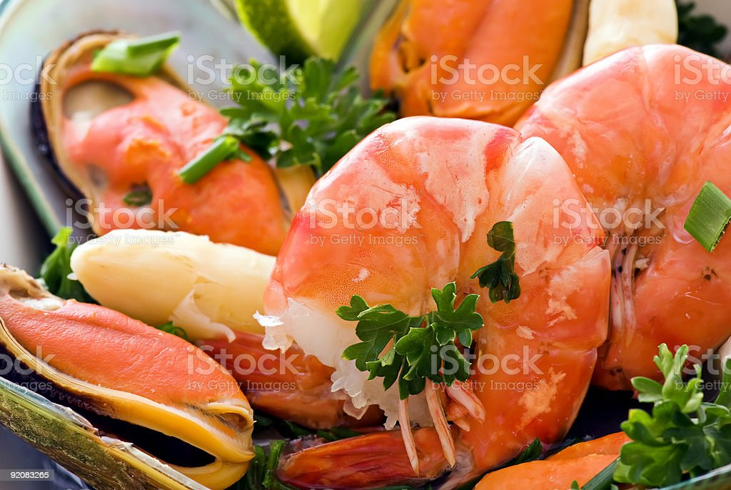 Seafood with Asparagus royalty-free stock photo