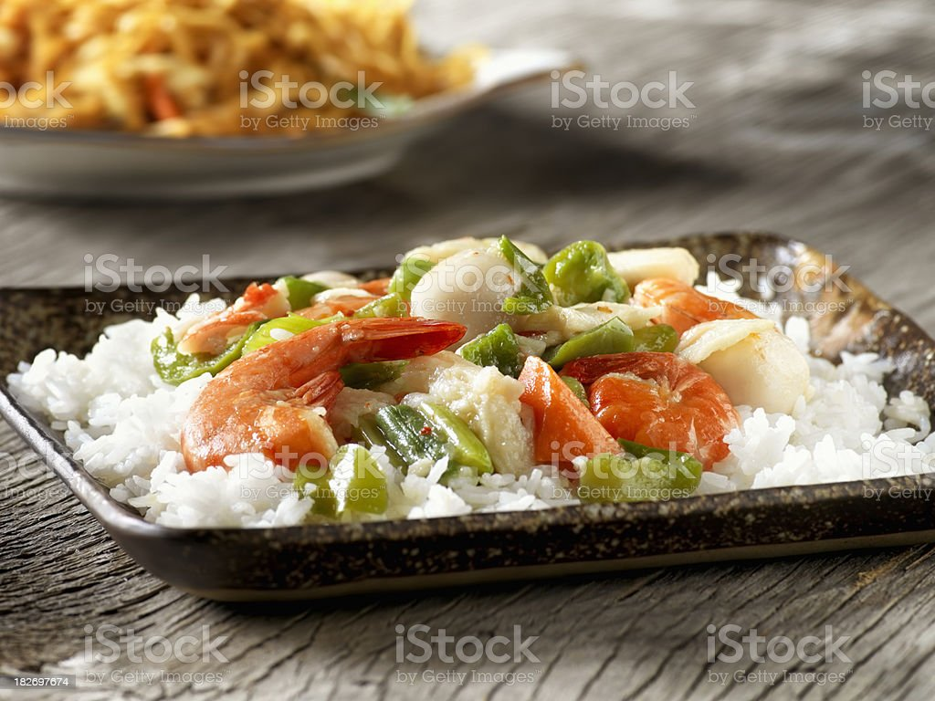 Seafood with Mixed Vegetable Stir Fry royalty-free stock photo