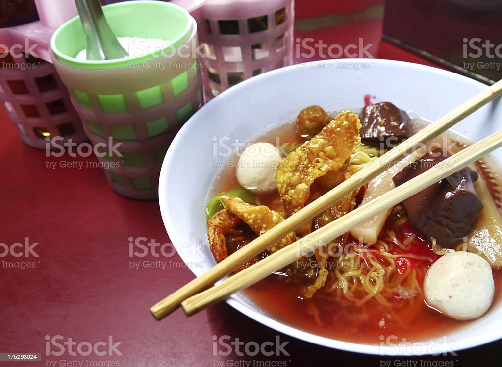 Seafood yong tau foo rice noodles with fishball royalty-free stock photo