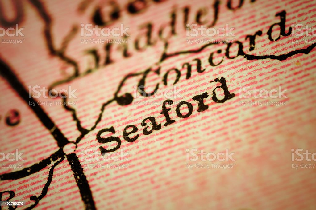 Seaford, Delaware on an Antique map stock photo