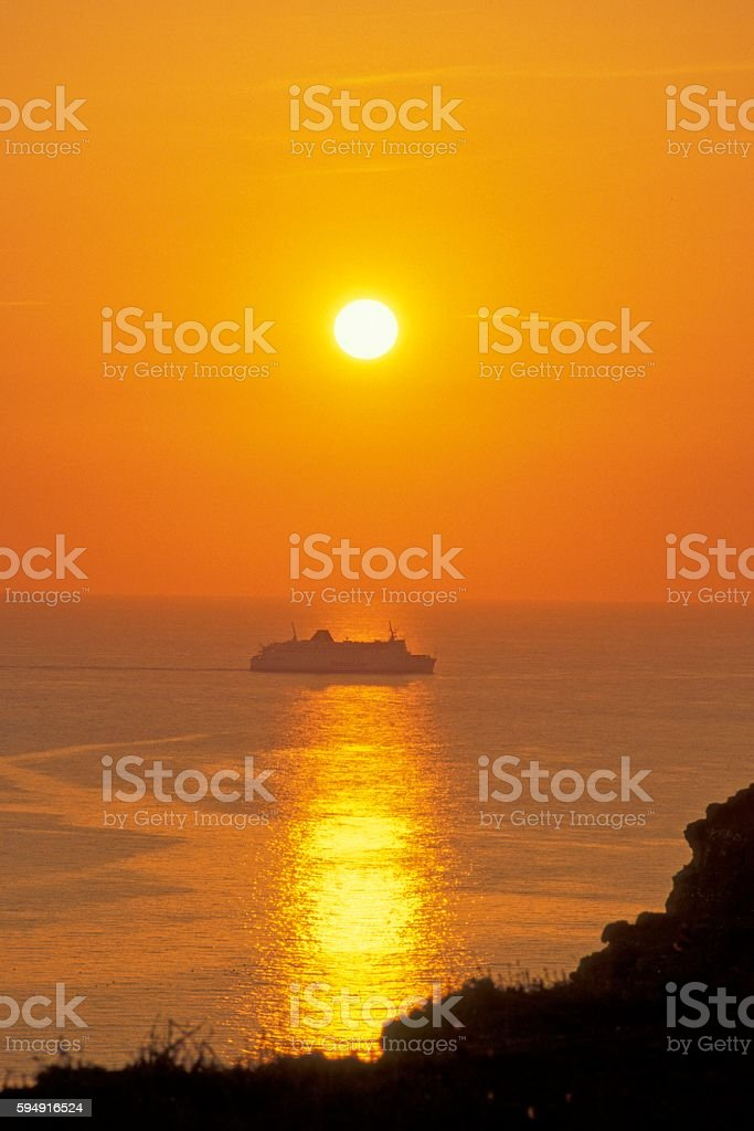 Seaford Head sunset stock photo
