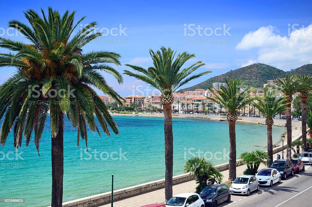 Seafront at Ajaccio stock photo