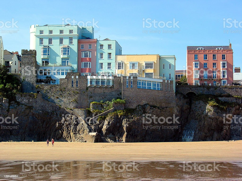 Seafront houses and hotels stock photo