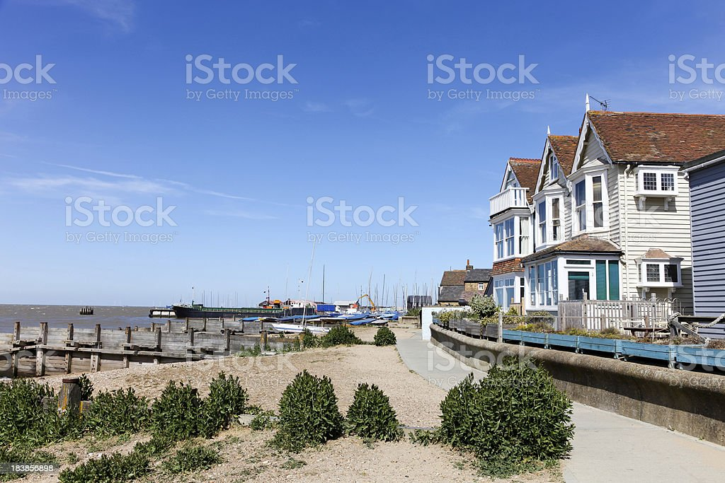 Seafront houses at Whitstable, Kent, UK stock photo