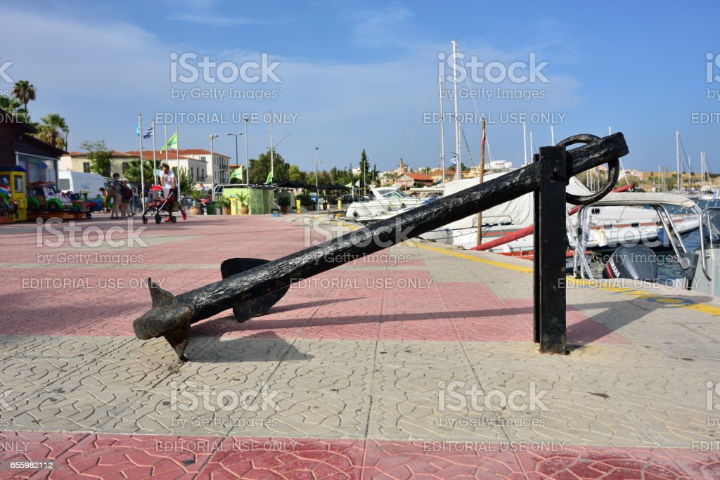 Seafront in Lavrion, Greece stock photo