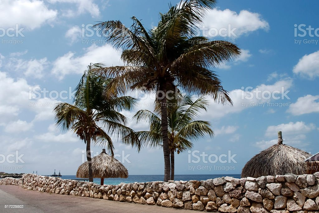 Seafront in the peaceful city Klarendijk, Bonaire stock photo