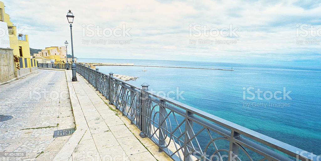 Seafront of Castellammare del Golfo, Sicily stock photo