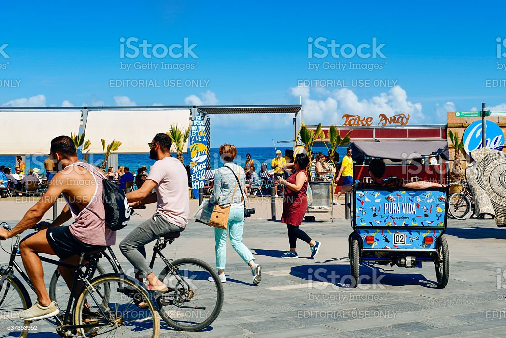 seafront of La Barceloneta in Barcelona, Spain stock photo