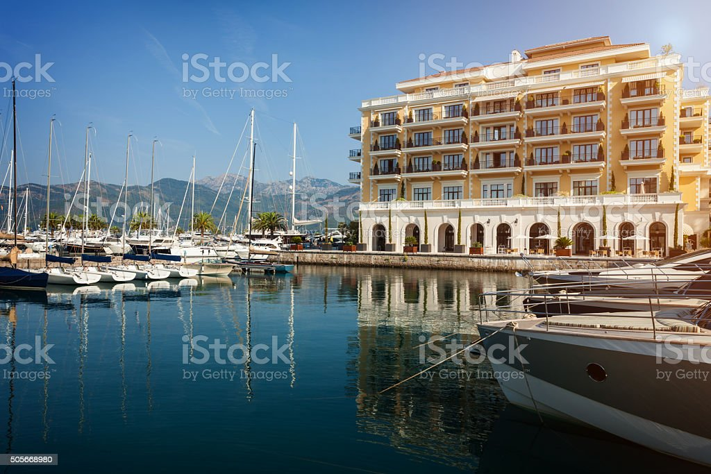 Seafront of luxury hotel at resort town stock photo