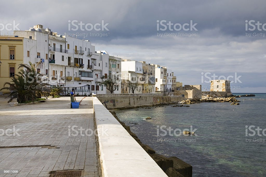 Seafront of Trapani, Sicily royalty-free stock photo