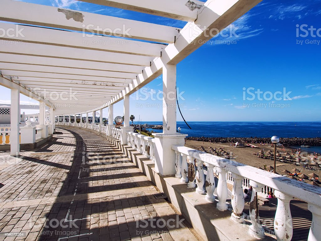 Seafront promenade along Las Americas beach stock photo