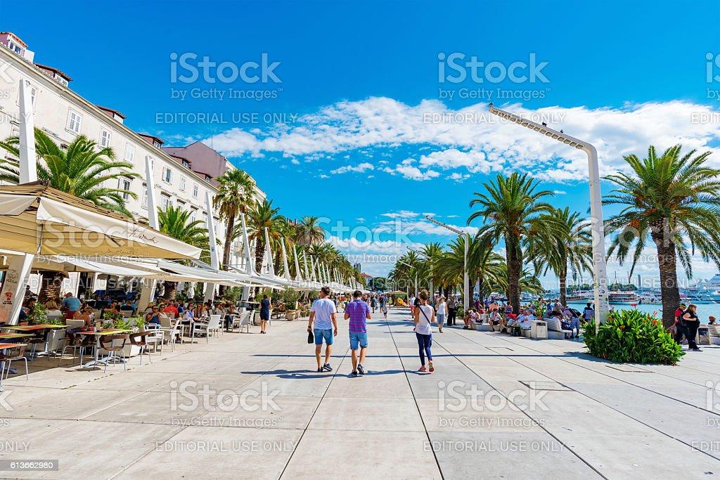 Seafront promenade in Split stock photo