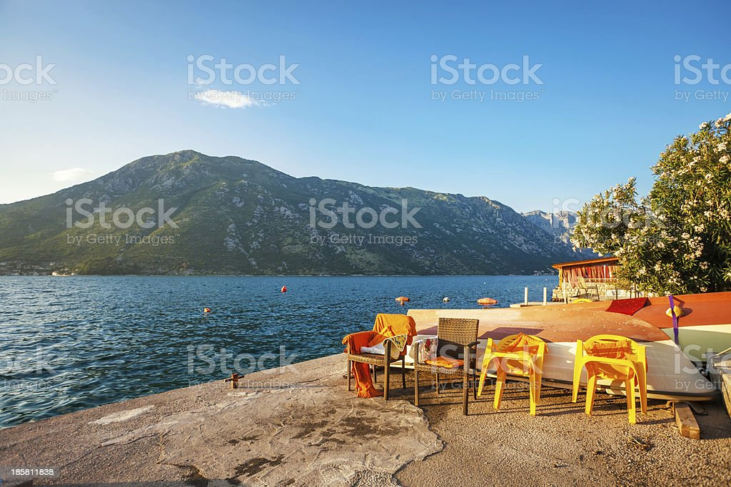 seafront with sea and mountain royalty-free stock photo