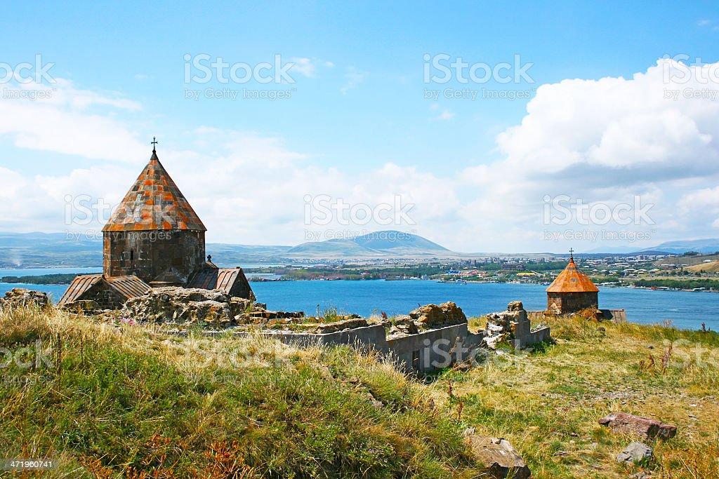Seagull on lake Sevan stock photo