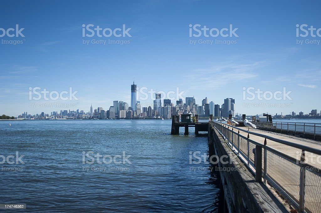 Seagulls on pier with Manhattan view royalty-free stock photo