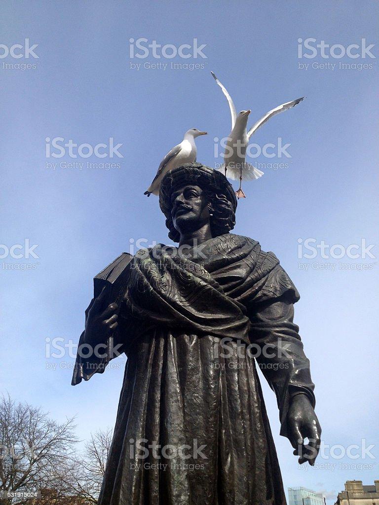 Seagulls on Statue of Rajah Rammohun Roy, Bristol, UK stock photo