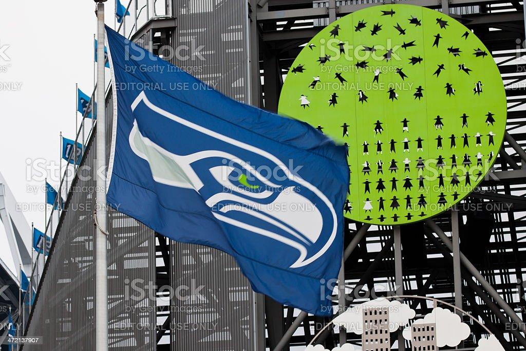 Seahawks Flag At Centurylink Stadium stock photo